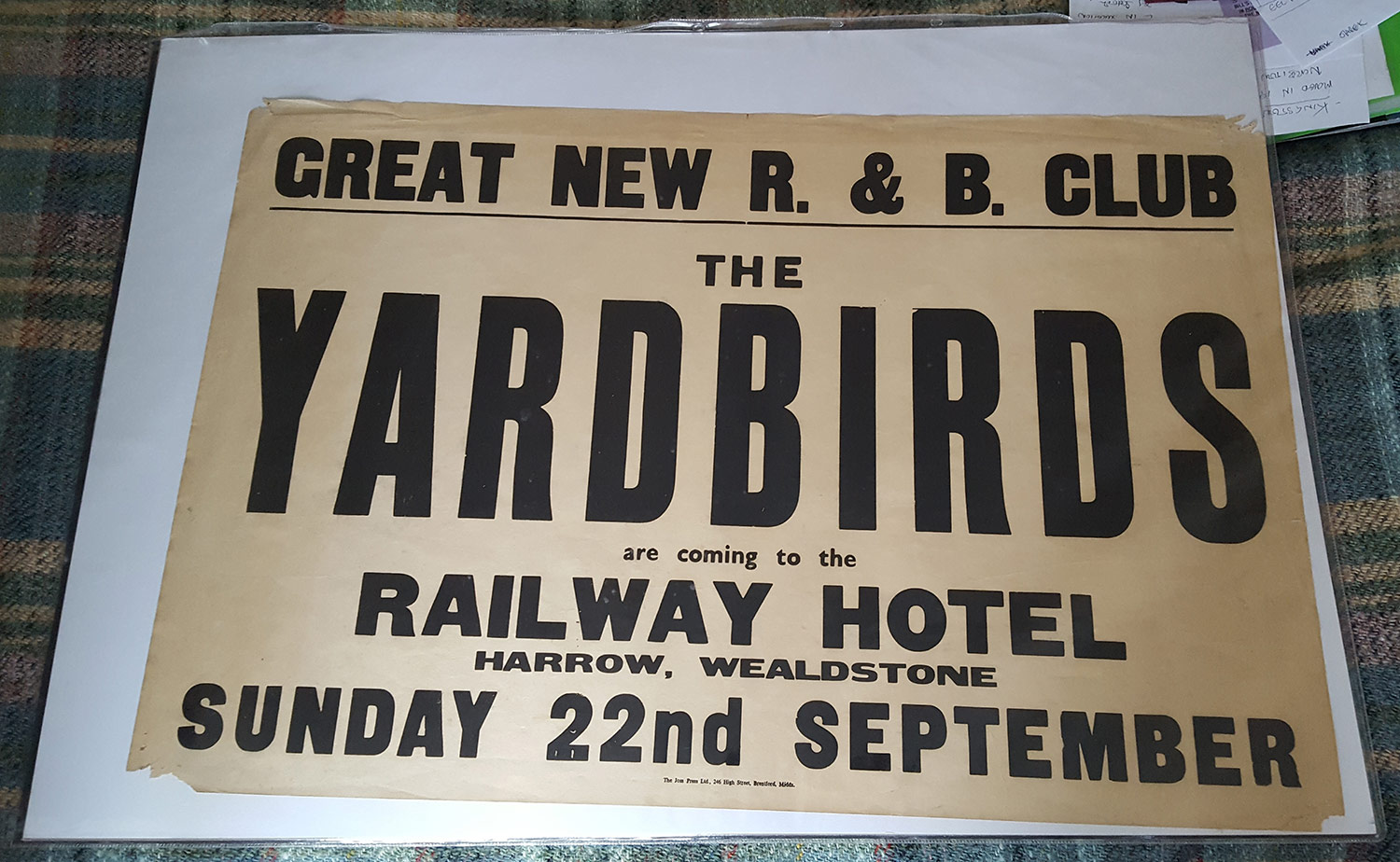 Poster for The Yardbirds at the Railway Hotel.