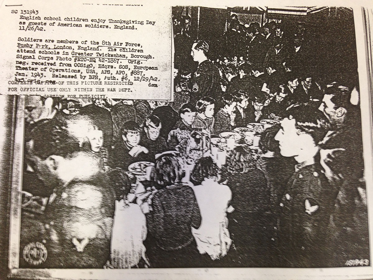 Newspaper cutting: English school children on Thanksgiving