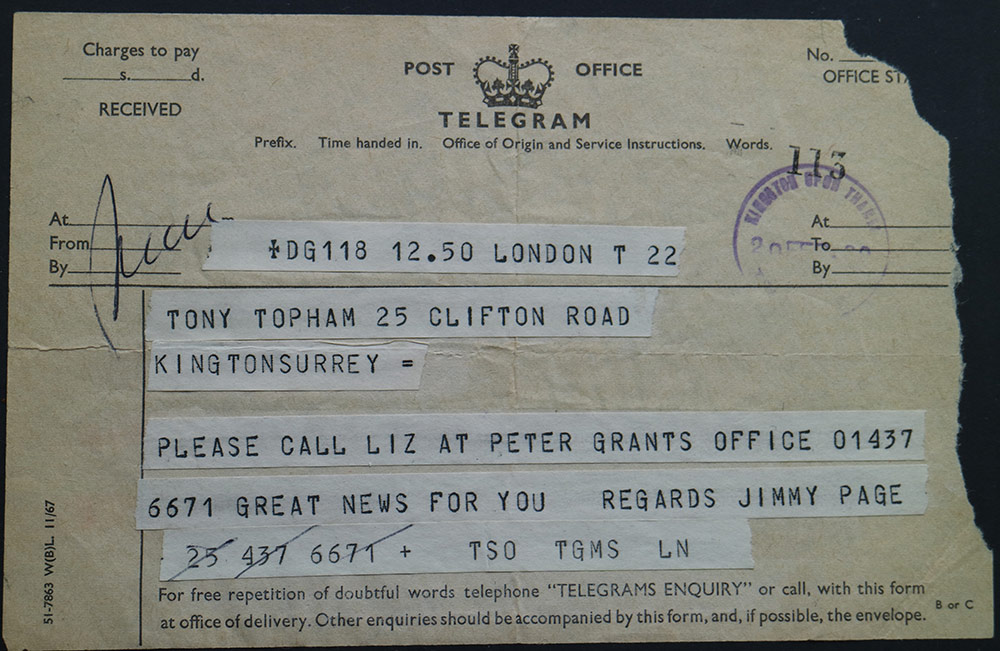 Telegram to Top Topham from Jimmy Page