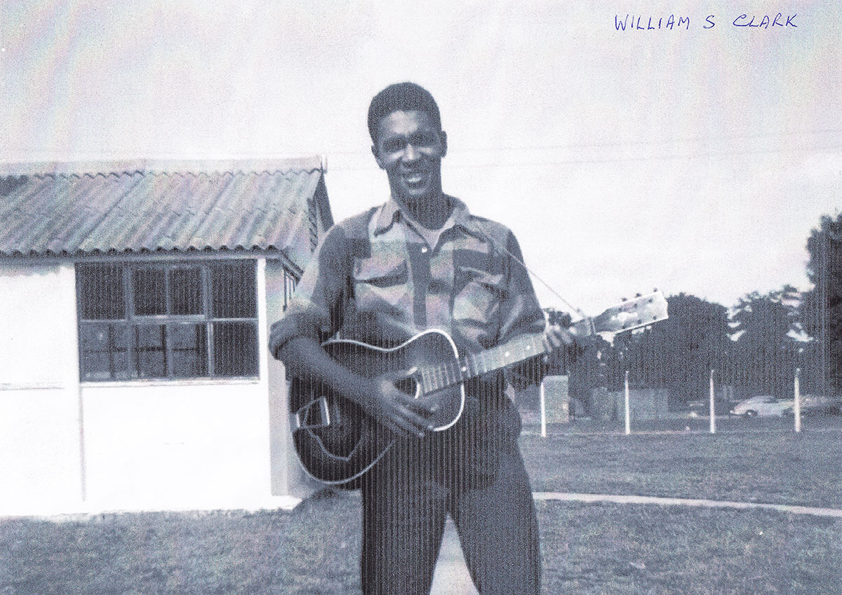 US airman William S. Clarke with guitar