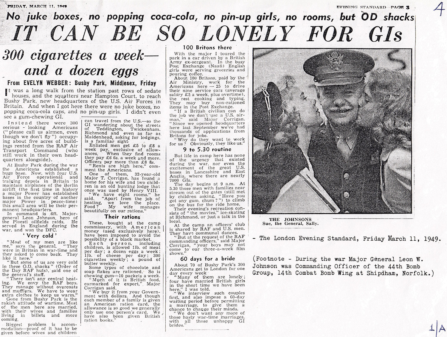 Article about US troops marrying UK citizens