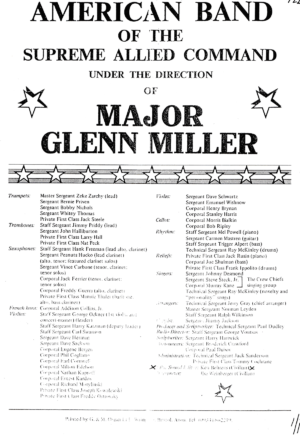 Band member list for the Major Glenn Miller Army Air Force Band.