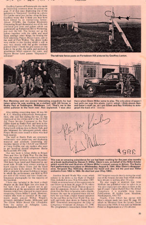 Article with picture of Glenn Miller signature.