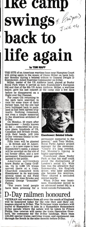 Newspaper cutting: Tribute to Eisenhower